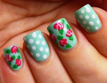 Vintage Flowers And Polka Dots Nail Art Tutorial Amazingmakeups