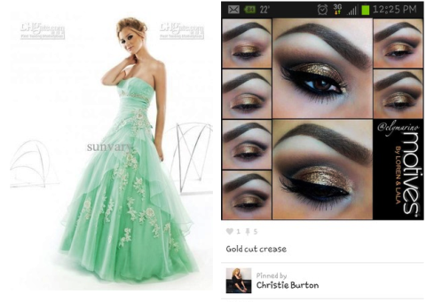 Makeup color for green dress