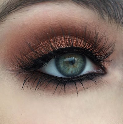 warm copper eyeshadow tutorial for light colored eyes