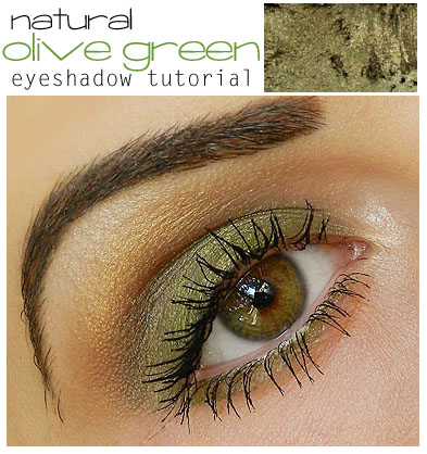 simple and natural olive green eyeshadow tutorial