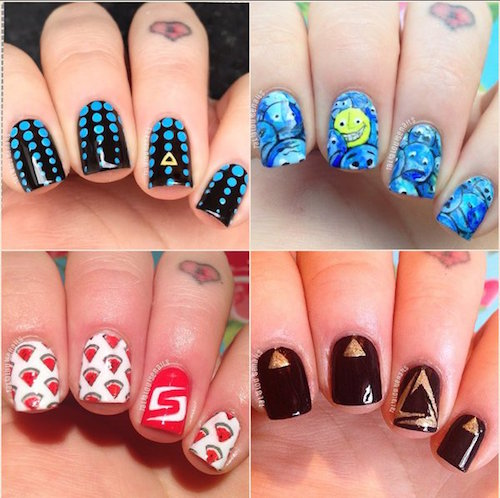 Amazing Nail Art Designs Compilation : Nail art design blue cream classy with studs