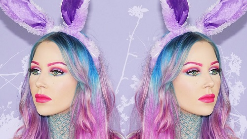 Bright Easter Makeup Look with Hot Pink Lip